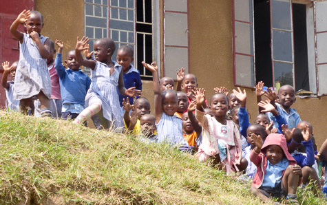 A big hello from the youngest children in Nyakabungo
