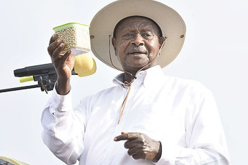 President with drought-resistant seeds